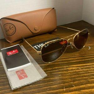 Ray-Ban Aviator Sunglasses Gold Brown Lens 55mm